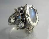 Silver Queen Ring With Moonstone and Onyx, Handmade Silver Jewelry, Antique Style, SIZE 4 5 6 7 8 9 10 11