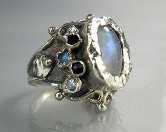 Silver Queen Ring, Moonstone Ring, Onyx Ring, Handmade Jewelry, Antique Style Ring, Sterling Silver Ring, Multistone Ring, Statement Ring