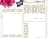 complete personalized stationery set - LACY EDGE - personalized womens stationary set - note cards - notepad