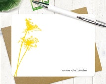 personalized stationery set - QUEEN ANNES LACE - set of 12 flat note cards - personalized stationary - flower - botanical