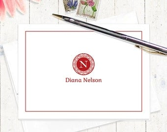 personalized stationery set - MEDALLION MONOGRAM - set of 8 - personalized stationary folded note cards - monogrammed