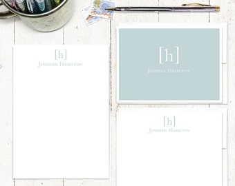 complete personalized stationery set - SIMPLY CLASSIC MONOGRAM - stationary - letter writing set - note cards - notepad