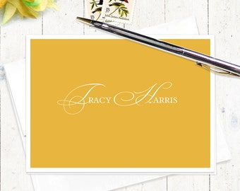 personalized stationery set - ELEGANT INITIALS - set of 8 folded note cards - choose color - personalized stationary