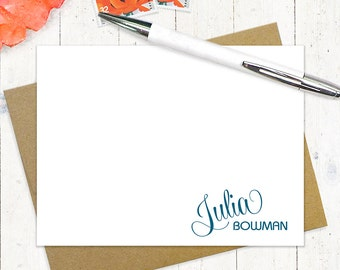 personalized note cards stationery set - FUN SCRIPT NAME - set of 12 flat note cards - stationary