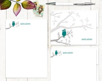 complete personalized stationery set - OWL ON BRANCH - personalized stationary note cards - note pad - choose colors