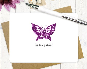 personalized note cards - BUTTERFLY - set of 8 folded cards - stationery - stationary