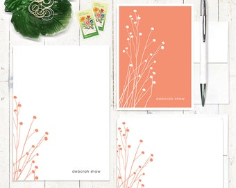 complete personalized stationery set - DAINTY FLOWERS - personalized stationary set - note cards - notepad - choose color