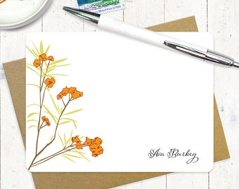 personalized stationery note card set - AWESOME AZALEA - set of 12 flat note cards - stationery - custom stationary - flowers