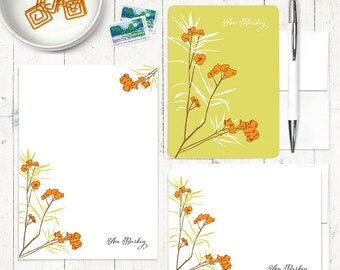 complete personalized stationery set awesome azalea personalized stationary floral letter writing set flowers