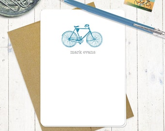 personalized note cards stationery set - VINTAGE BOYS BICYCLE - set of 8 folded cards - men's bike - personalized stationary
