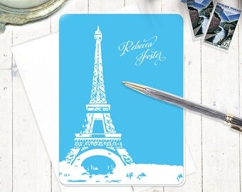 personalized note cards stationery set - EIFFEL TOWER - set of 8 - personalized stationary folded cards - paris
