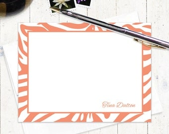 personalized stationery set - ZEBRA PRINT - set of 12 flat note cards - animal print stationary