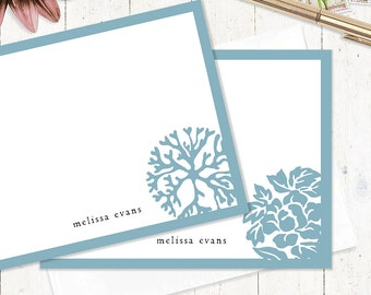 personalized note cards - DARLING ORNAMENTALS - set of 12 cards - stationery - stationary