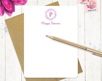 personalized note card stationery set - FLORAL WREATH MONOGRAM - set of 12 flat note cards - personalized stationary - choose color