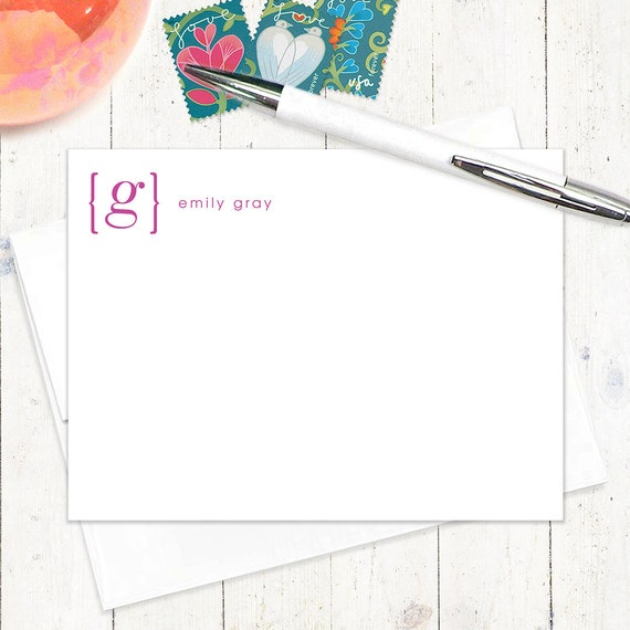 personalized stationery set - your NAME your INITIAL MONOGRAM - set of 12 flat note cards - monogrammed stationary