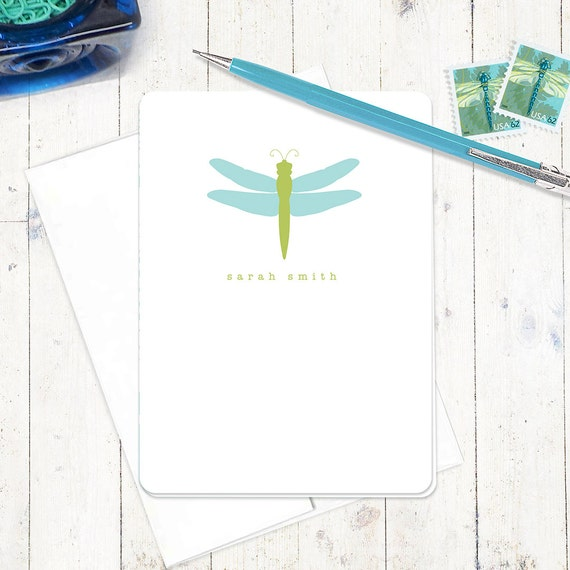 personalized stationery set note cards - DRAGONFLY - set of 8 - personalized folded stationary - choose colors
