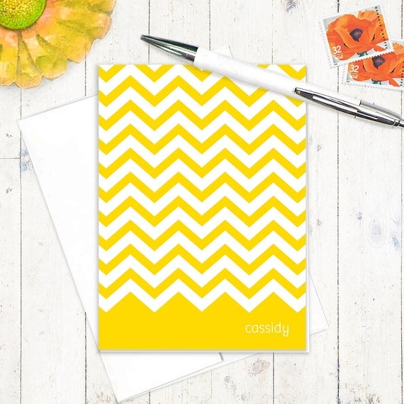 personalized note cards stationery set - CHEVRON STRIPE - set of 8 folded note cards - modern stationary