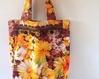 Fall Retro Floral Handbag with Pom Poms/ Vintage Fabric