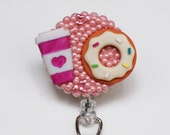 Morning Coffee And Donut On Pink ID Badge Reel - Retractable ID Badge Holder - Zipperedheart
