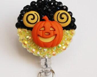 Halloween  Mickey Mouse Pumpkin ID Badge Reel - Retractable ID Badge Holder - Zipperedheart