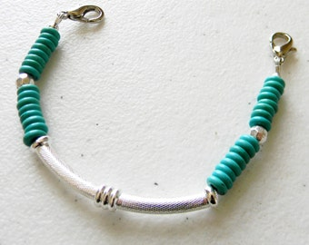Free Shipping ~ Beaded Medical ID Tag Alert Replacement Bracelet Strand, Use with your for id tag ~ Turquoise and Bali Silver