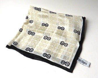 Bill Blass vintage Gold, White and Black Signature Patterned Square Silk Scarf