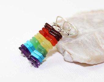 Garnet, Carnelian, Yellow Opal, Chrysoprase, Turquoise, and Amethyst Gemstone . Sterling Silver Stacked Bar Earrings . Rainbow . E15044