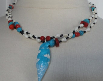 Tropic-Ali Necklace. Hand Painted Seashell with Red Corals and Faux Turquoise Necklace. 2 Strands