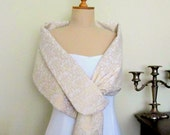 Wedding Shawl Bridal Cover Up Shoulder Wrap Shrug Gold Cream Stole Bridesmaids Mother of the Bride