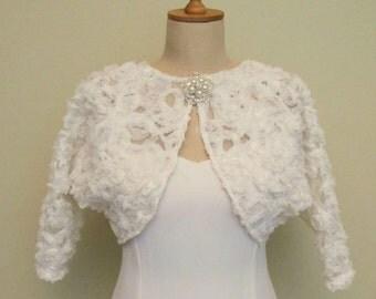 Sample Sale Bridal Shrug Tulle Rosetto Bolero with Brooch Bride Boleros Capelet Cape 3/4 Sleeve Ivory