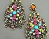 Colorful Boho Teardrop Gypsy Chandelier Earring Findings Long Teardrop Pendants in Antique Gold