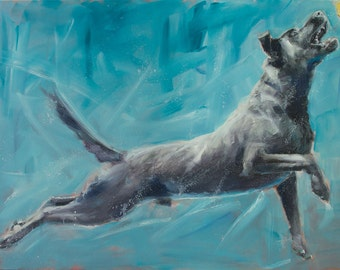 Large Black Lab, Labrador Retriever Jumping, Catching a Tennis Ball, on Blue, Sky Background Large Original Painting by Clair Hartmann