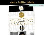 Happy Birthday Water Bottle Labels Black and Gold Printable Drink Wrappers Digital File Stripes INSTANT DOWLOAND