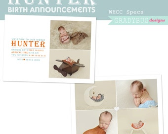Hunter Birth Announcement 1 - Templates for Photographers - INSTANT DOWNLOAD, Birth Announcement, Newborn Announcement, Grey Blue Gray