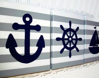 Nautical Nursery Wall Decor - Nursery Paintings - Sailboat Anchor Helm Navy Grey Canvas Paintings - Baby Boy Nursery Bedroom - Nursery Decor