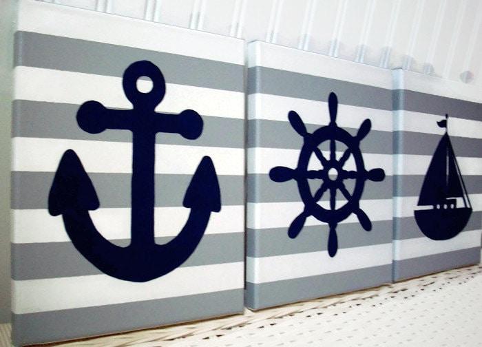 Anchor Wall Decor Nursery : Nautical nursery wall decor paintings sailboat