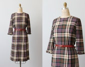 Plaid Dress / 1960s Dress / Wool Dress / Girl Friday
