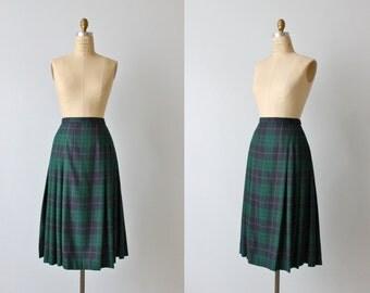 Pendleton Wool Skirt / Vintage Plaid Skirt / Blue Green Plaid