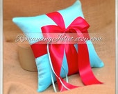 Romantic Satin Ring Bearer Pillow ...You Choose the Colors...BOGO Half Off..shown in turquoise/red