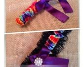 Lovely Vintage Style Black Lace Garter Set with Vibrant Crystal Accents...shown in dominant red tie dye/eggplant purple