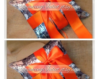 Romantic Satin Ring Bearer Pillow ...You Choose the Colors.. SET OF 2...Shown in camo/orange