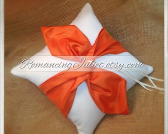 Knottie Ring Bearer Pillow...You Choose the Colors....Buy One Get One HALF OFF..shown in ivory/orange