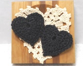 Pot Scrubbers. Hearts, durable, eco-friendly, cleaning aid, home, scour pad, gift, black, brown, tan, white, nylon net. 2 pack of hearts.
