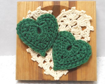 Pot Scrubbers. Hearts, durable, eco-friendly, cleaning aid, home, scour pad, gift, green, nylon net. 2 pack of hearts.