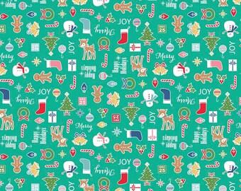 SPRING SALE - 3 3/8 yards - Cozy Christmas - Main in Teal - C5360 - Riley Blake Designs - Lori Holt
