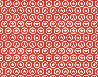 BLACK FRIDAY SALE - Lucky Star - 1 yard - C4831-Star Circle in Red - Zoe Pearn for Riley Blake Designs