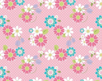 FALL SALE - Dream and a Wish - 1 yard - C4812-Floral in Pink - Sandra Workman for Riley Blake Designs