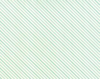 SUMMER SALE - Hello Darling - 1 Yard - Stripe in Aqua (55112-13) - Bonnie and Camille for Moda Fabrics