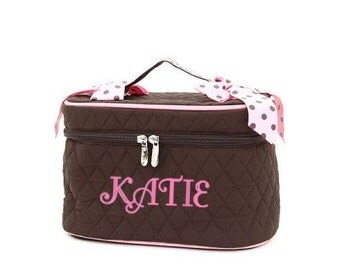 Personalized Brown/Pink Polkadot Cosmetic Case Bag