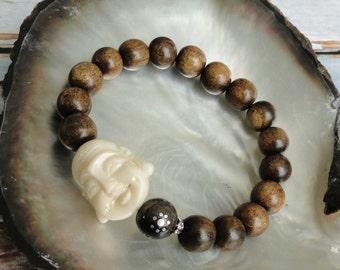BURT HORN with HAPPY Buddha Bracelet, yoga, boho, tribal